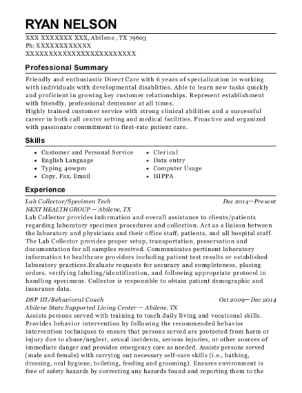 Lab Collector resume sample Texas