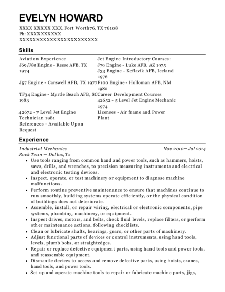 Industrial Mechanics resume template Texas