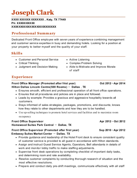 Front Office Manager resume format Texas