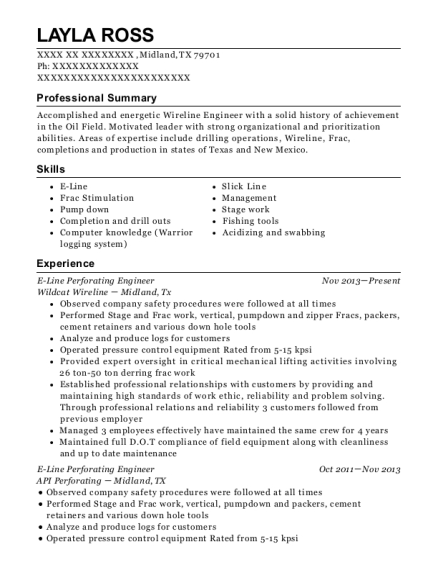 E Line Perforating Engineer resume format Texas