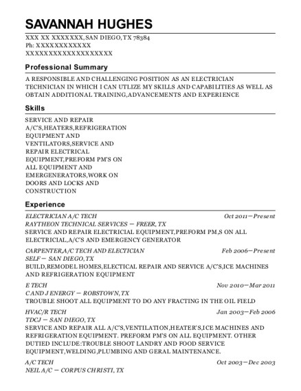 ELECTRICIAN A resume format Texas