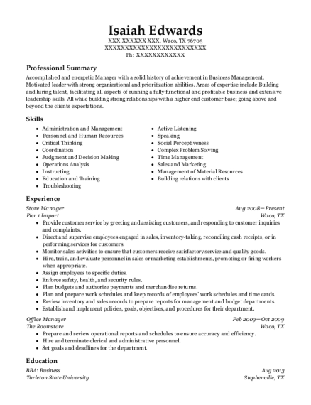 Store Manager resume example Texas