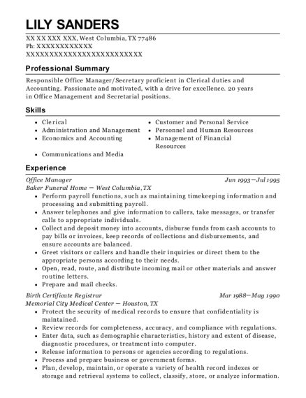 Office Manager resume template Texas