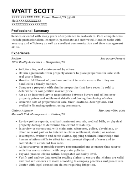 Realtor resume sample Texas