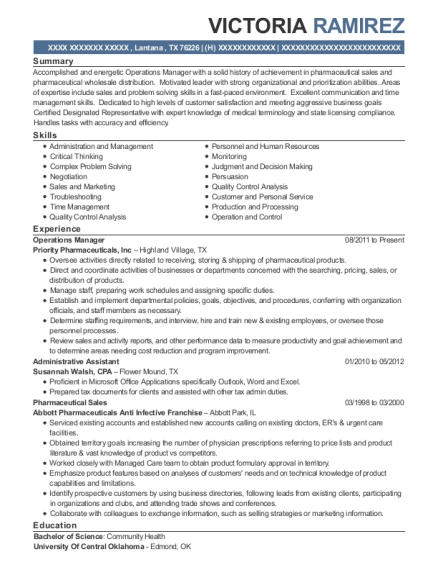 Operations Manager resume template Texas