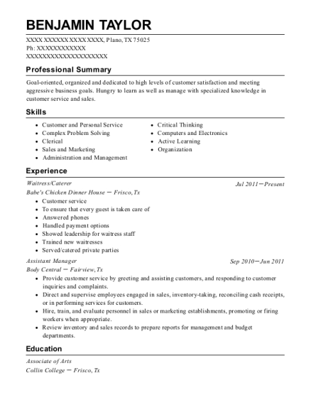 Waitress resume example Texas