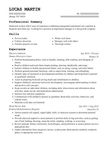 Daycare employee resume example Texas