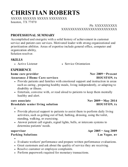 home care provider resume format Texas