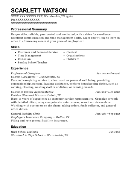 Professional Caregiver resume template Texas