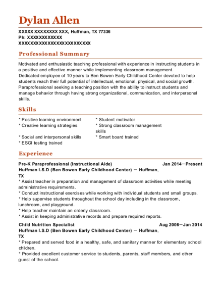 Pre K Paraprofessional resume template Texas