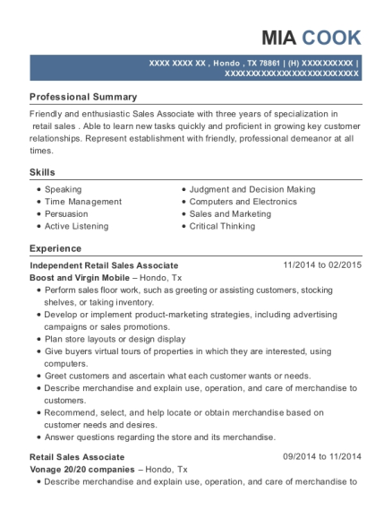 Independent Retail Sales Associate resume sample Texas