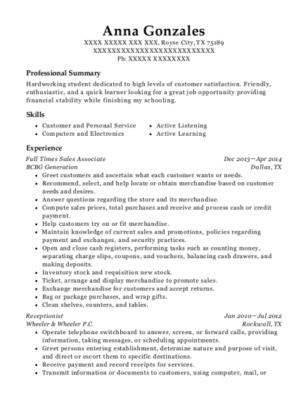 Full Times Sales Associate resume example Texas