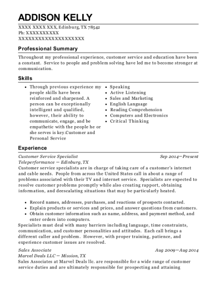 Customer Service Specialist resume sample Texas