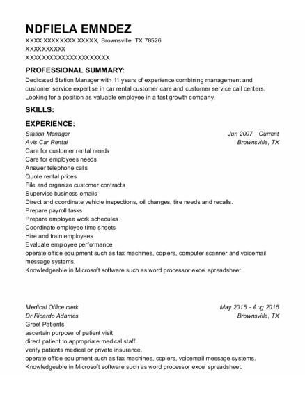 Station Manager resume template Texas