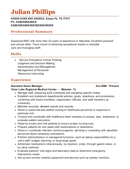 Assistant Nurse Manager resume template Texas