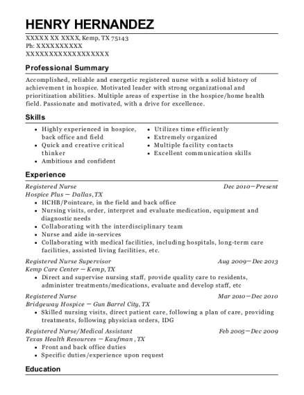 Registered Nurse resume example Texas