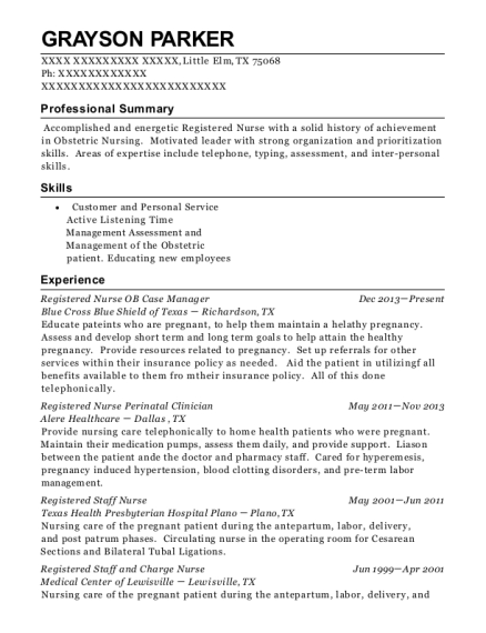 Registered Nurse OB Case Manager resume sample Texas