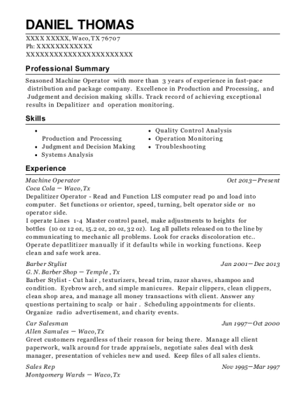 Machine Operator resume sample Texas