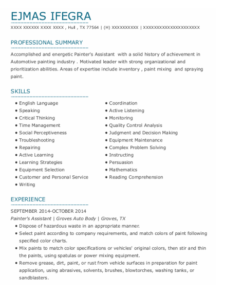 Painters Assistant resume template Texas