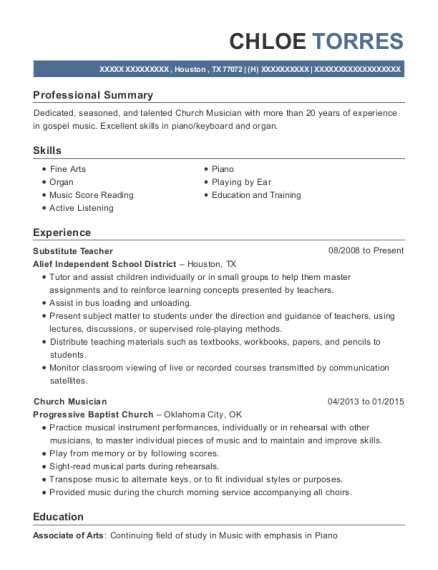 Substitute Teacher resume sample Texas