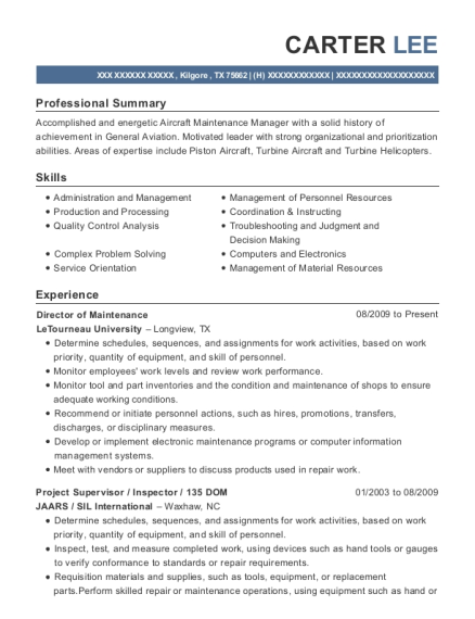 Director of Maintenance resume template Texas