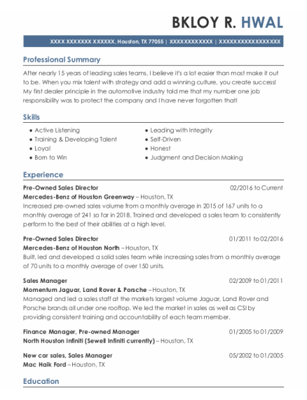 Sales Manager resume sample Texas