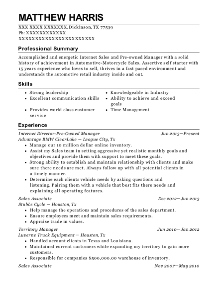 Internet Director Pre Owned Manager resume sample Texas