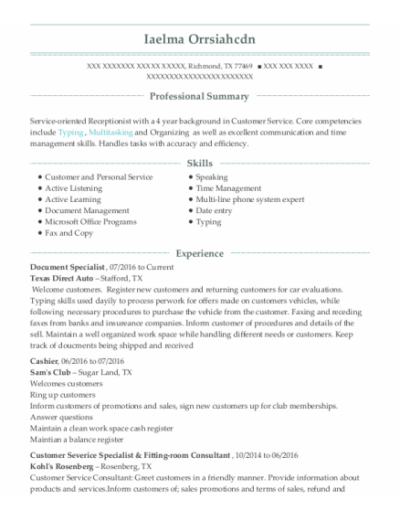 Document Specialist resume template Texas