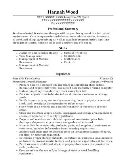 Inventory Control Manager resume template Texas
