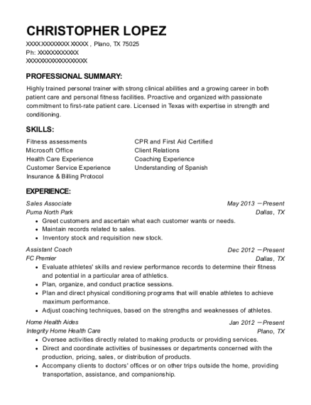 Sales Associate resume example Texas