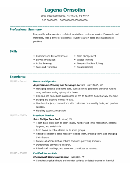 Owner and operator resume example Texas