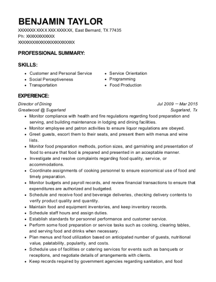 Director of Dining resume sample Texas