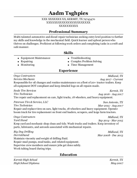 Service Mechanic resume template Texas