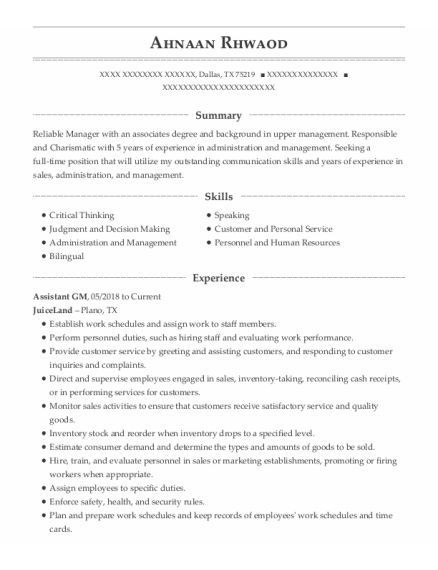 Assistant Gm resume format Texas