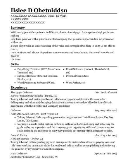 Mortgage Collector resume format Texas