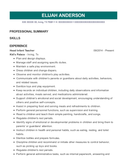 Head Infant Teacher resume template Texas