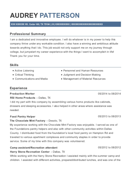 Production Worker resume template Texas