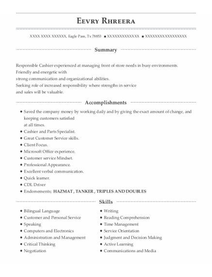 Cdl Driver resume example Texas