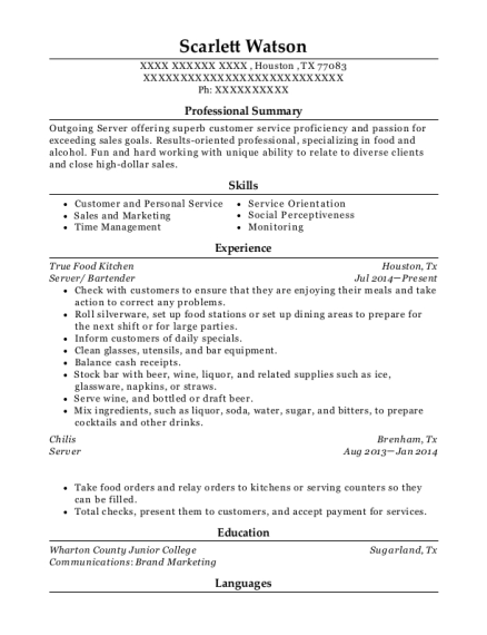 Server resume template Texas