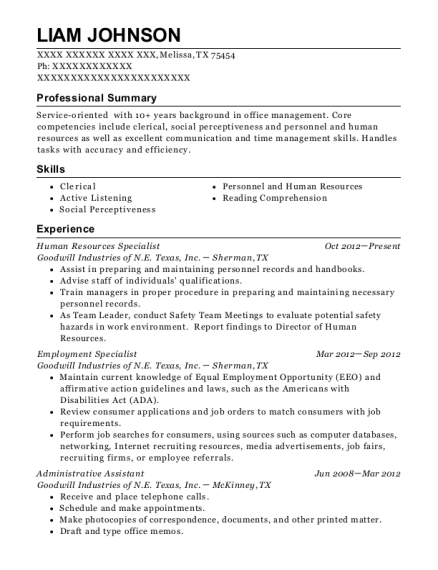 Human Resources Specialist resume template Texas