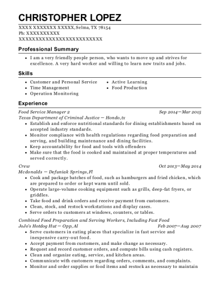 Food Service Manager 2 resume template Texas