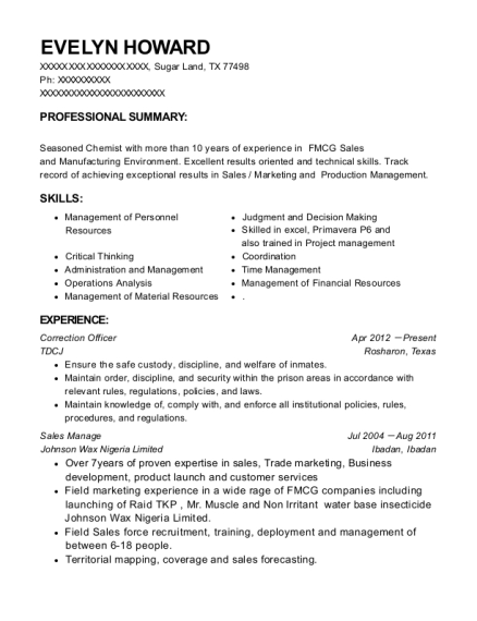 Correction Officer resume sample Texas