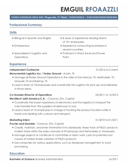 Independent Contractor resume example Texas