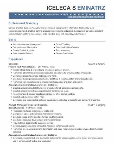 Concierge resume format Texas