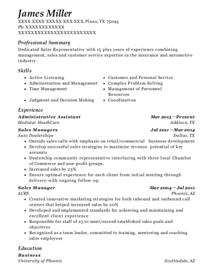Administrative Assistant resume sample Texas