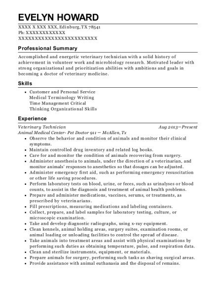 Veterinary Technician resume example Texas
