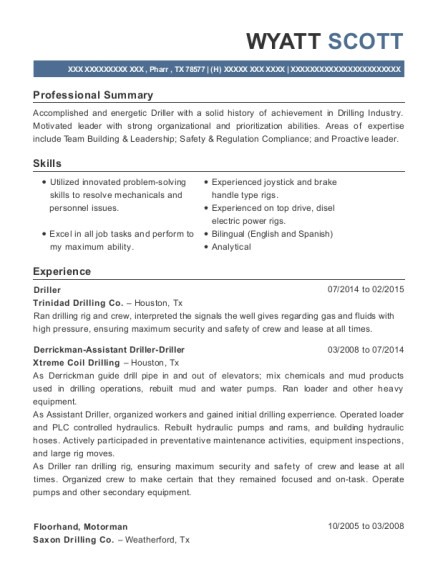 Driller resume example Texas