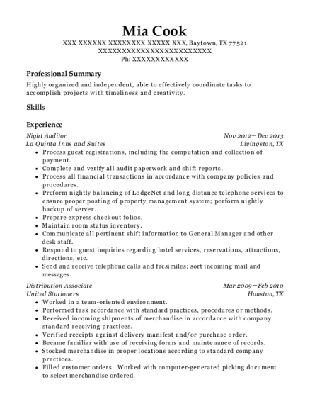 Night Auditor resume example Texas