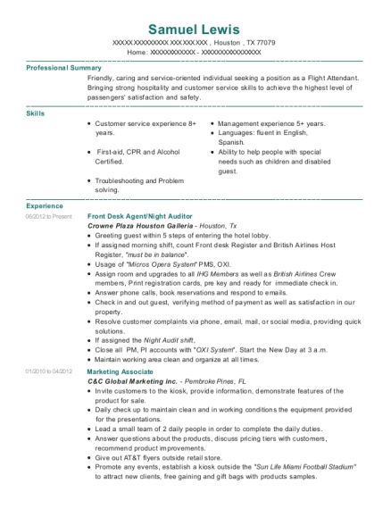Front Desk Agent resume sample Texas