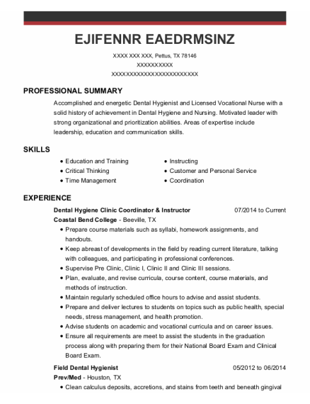 Dental Hygienist resume template Texas